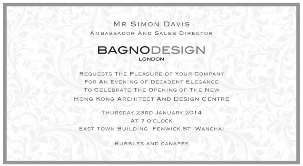 VSC Bagnodesign Grand Opening invitation 23 January, 2014